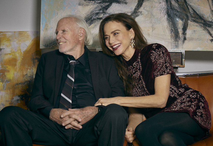 Richard (Bruce Dern) and Claire (Lena Olin) being interviewed on television in THE ARTIST'S WIFE. Photo by Michael Lavine.