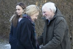 Angela (Juliet Rylance) and Richard (Bruce Dern) share a heartfelt goodbye as Claire (Lena Olin) looks on in THE ARTIST'S WIFE. Photo by Michael Lavine.