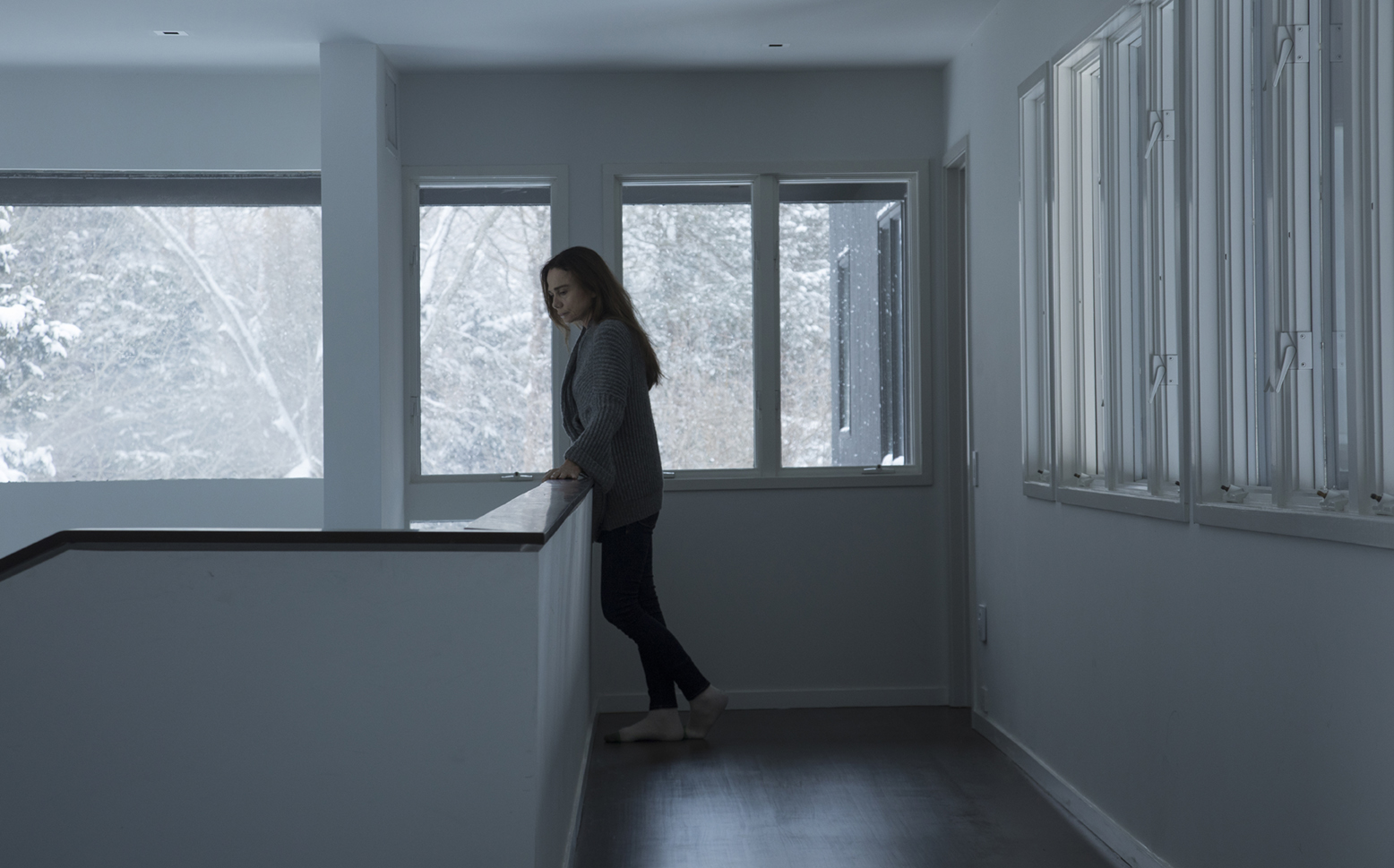 Claire (Lena Olin) considers her life during a snowstorm in THE ARTIST'S WIFE. Photo by Michael Lavine.