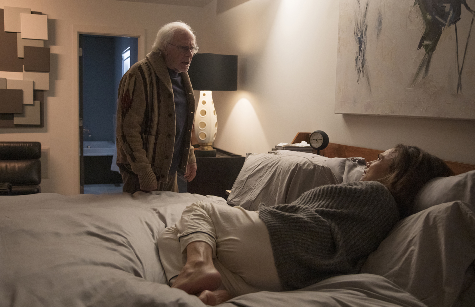 Richard (Bruce Dern) and Claire (Lena Olin) quarrelling before bed in THE ARTIST'S WIFE. Photo by Michael Lavine.