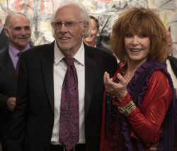 Richard (Bruce Dern) and Adaa Risi (Stefanie Powers) catch up over old times at his Manhattan art opening in THE ARTIST'S WIFE. Photo by Michael Lavine.