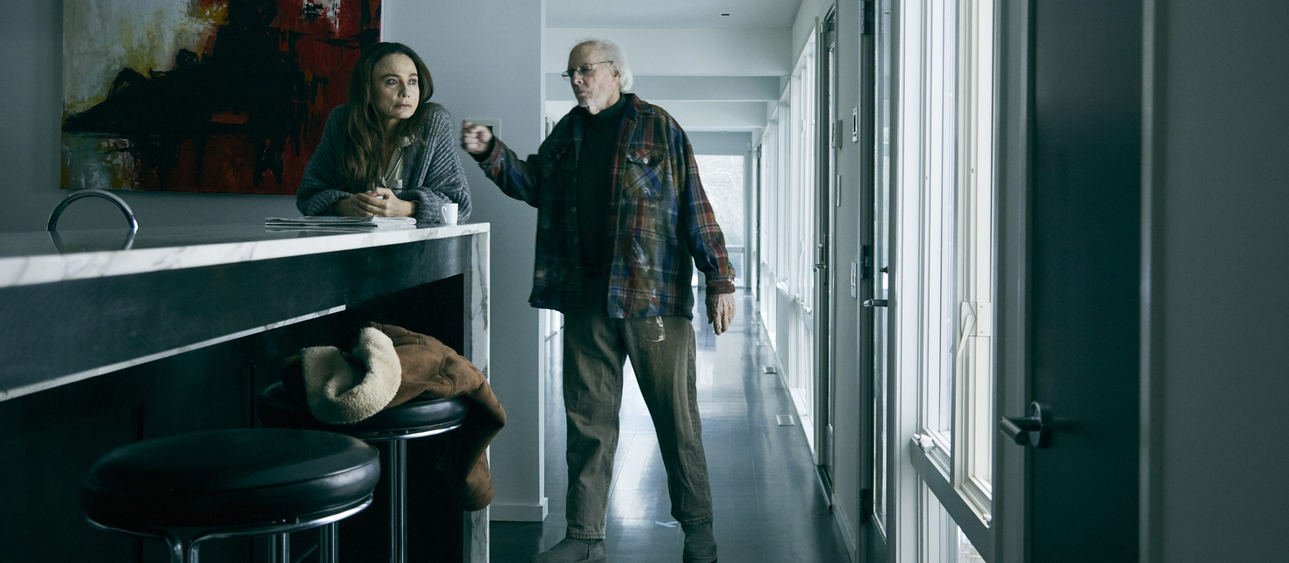 Claire (Lena Olin) and Richard (Bruce Dern) in their morning routine in THE ARTIST'S WIFE. Photo by Michael Lavine.