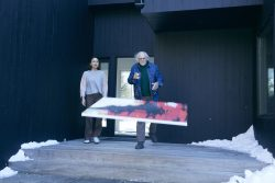 Richard (Bruce Dern) tossing his painting out the front door, while Claire (Lena Olin) looks on in surprise in THE ARTIST'S WIFE. Photo by Michael Lavine.